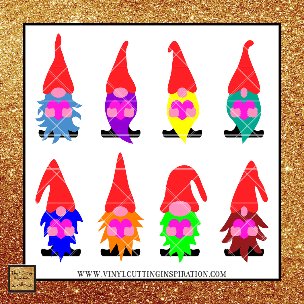 Valentine Gnome Bundle, Gnome SVG, Gnome Laser Cutting Files, Gnome Foil Quill Designs, Gnome Paper Cutting Files - Vinyl Cutting Inspiration