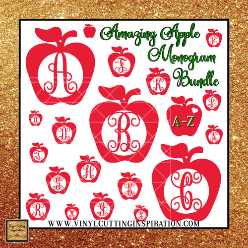 Teacher Appreciation, Apple Monogram Svg Bundle, Apple Svg, Teacher Appreciation, Apple Monogram, Teacher SVG - Vinyl Cutting Inspiration