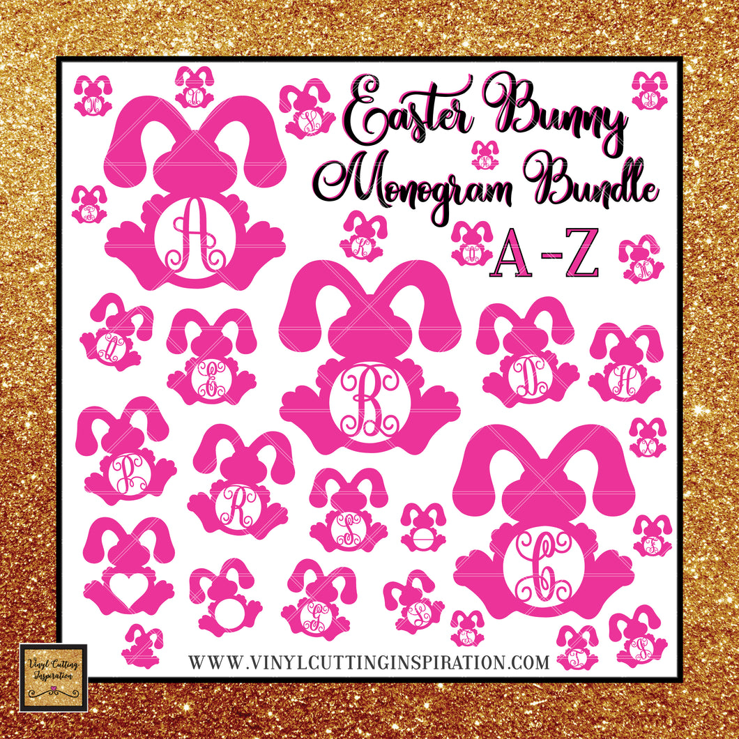Easter Bunny Monogram Bundle, Svg, Easter Svg, Bunny Svg, Rabbit Svg, Easter Cut Files, Happy Easter Svg, Cricut Cut Files, Silhouette Cut - Vinyl Cutting Inspiration
