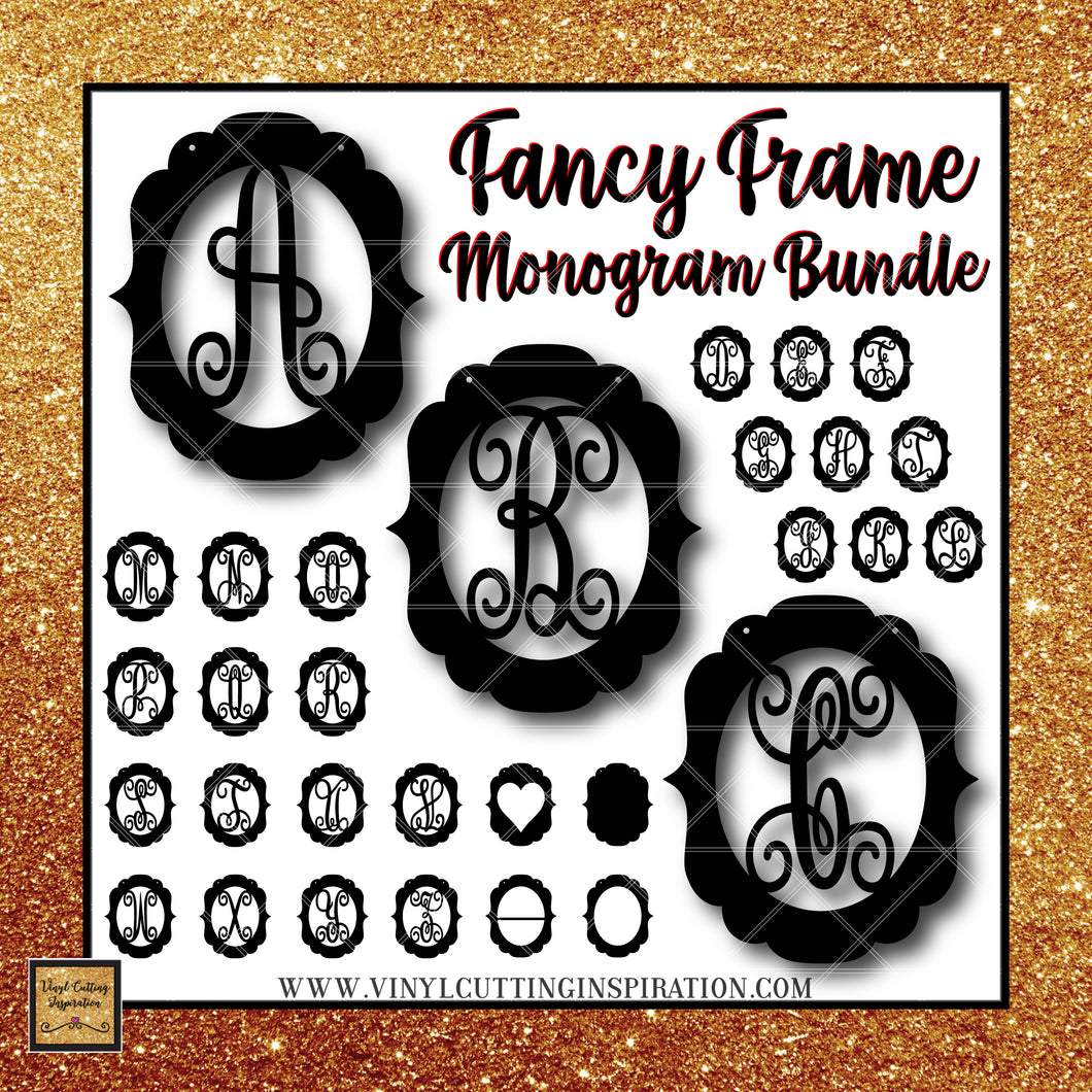 Fancy Frame Monogram Bundle, Farmhouse Cutting Files, Svg Files, Svg images, Farmhouse Cutting Files for Cricut & Silhouette - Vinyl Cutting Inspiration