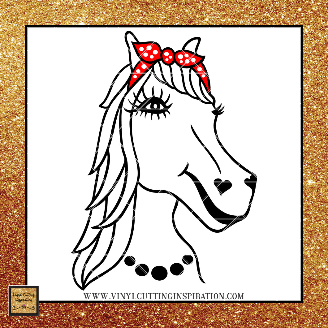 Horse with Bandana, Horse svg, Horse drawing svg, Bandana svg, Horse cut file, Rodeo svg, Svg files, Animal svg, Farm svg, Horse head svg, Western svg - Vinyl Cutting Inspiration