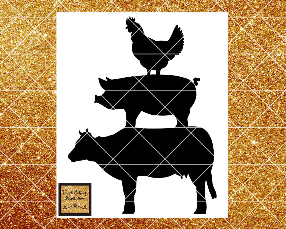 Pig Svg, Cow Svg, Chicken Svg, Farm Svg, Chicken Pig Cow Svg, Farm Animals Svg, Kitchen Svg Files, Svg Files, Svg Files for Cricut Dxf, svg - Vinyl Cutting Inspiration