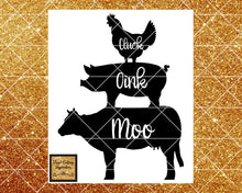 Cluck Oink Moo Svg, Pig Svg, Cow Svg, Chicken Svg, Farm Svg, Chicken Pig Cow Svg, Farm Animals Svg, Kitchen Svg Files, Svg Files, Dxf File - Vinyl Cutting Inspiration