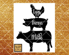 Eggs Milk Bacon Sign, Pig Svg, Cow Svg, Chicken Svg, Farm Svg, Chicken Pig Cow Svg, Farm Animals Svg, Kitchen Svg Files, Svg Files, Dxf File - Vinyl Cutting Inspiration