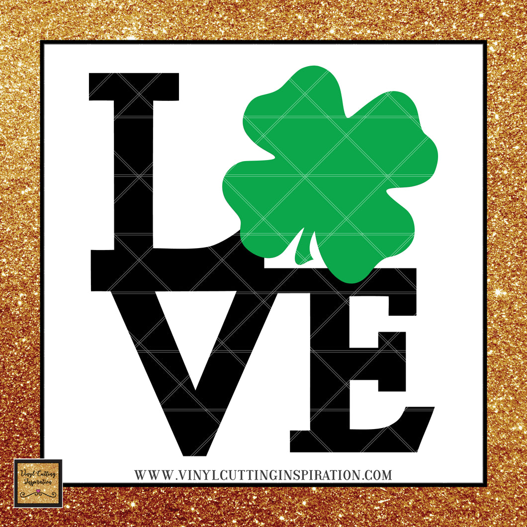 Love Svg, Love Heart Svg, Love with Clover, Shamrock svg, Clover Svg, St. Patricks Day Svg, 4 leaf clover svg, Irish svg,St. Patty's Day Svg, Svg images, Cut files, luck, Cutting Files For Silhouette and Cricut, Svg Files, dxf - Vinyl Cutting Inspiration