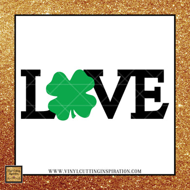 Love SVG Clover, Love Heart Svg, Love with Clover, Shamrock svg, Clover Svg, St. Patricks Day Svg, 4 leaf clover svg, Irish svg,St. Patty's Day Svg, Svg images, Cut files, luck, Cutting Files For Silhouette and Cricut, Svg Files, dxf