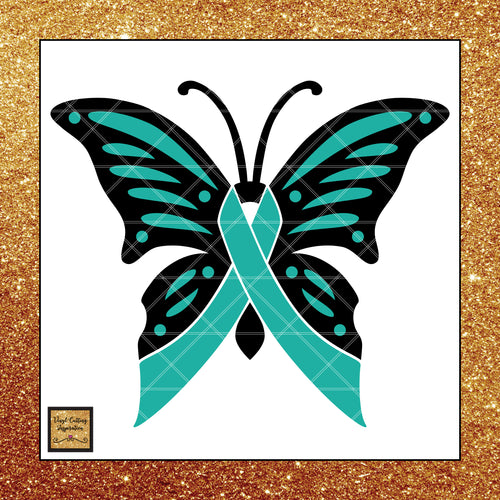 Ovarian Cancer Awareness Ribbon Svg, Ovarian Cancer Awareness, Teal Ribbon Teal Butterfly Cancer Ribbon, Svg Cutting Files, Svg Files, Svg Images, Cancer Ribbons - Vinyl Cutting Inspiration
