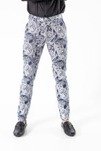 PLAID TROUSERS - NAVY PAISLEY PRINT