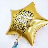 "Estrella Gigante DORADA ""Love You to The Moon & Back"" (90 cm) (con helio + $130)"