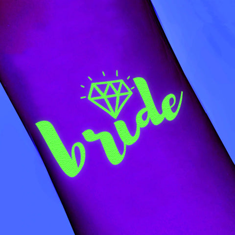 Tatuajes para despedidas GLOW IN THE DARK (Bride, Bride Tribe)