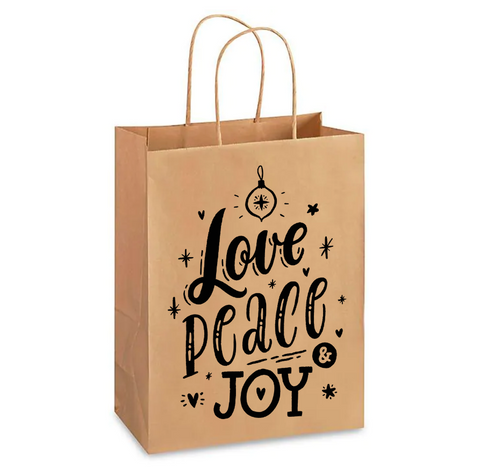"Bolsa de Papel Kraft ""Love, Peace, Joy"" de Navidad (23 x 13 x 33 cm)"