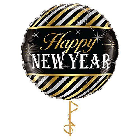 "Globo Redondo ""Happy New Year"" Rayas (45 cm) (con helio + $48)"