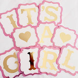 "Banderín rosa ""Its a Girl"" gold foil"