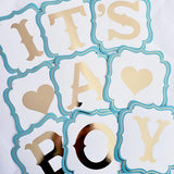 "Banderín azul ""Its a Boy"" gold foil"