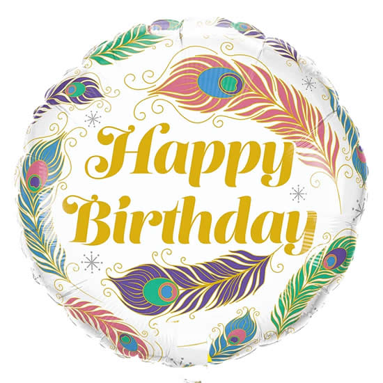 "Globo ""Happy Birthday"" plumas pavo real (45 cm) (Con helio +$55)"