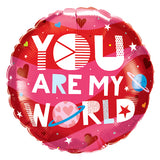 "Globo redondo ""You are my world"" (46 cm) (con helio + $60)"