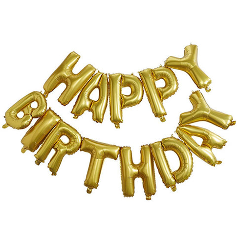 Globos Metalicos Dorados HAPPY BIRTHDAY (Set de 13 letras)