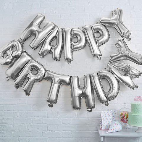 Globos Metalicos Plateados HAPPY BIRTHDAY (Set de 13 letras)