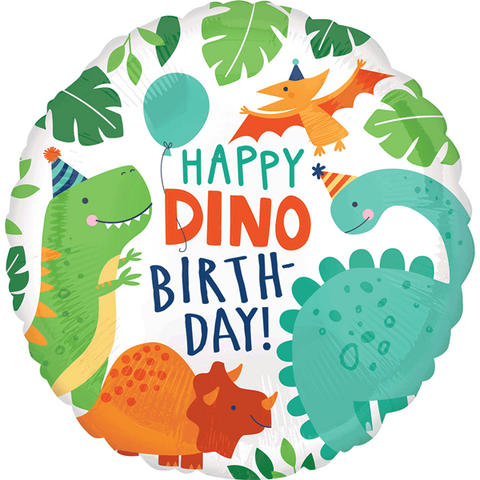 "Globo ""Happy Dino Birthday"" (45 cm) (Con helio + $55)"