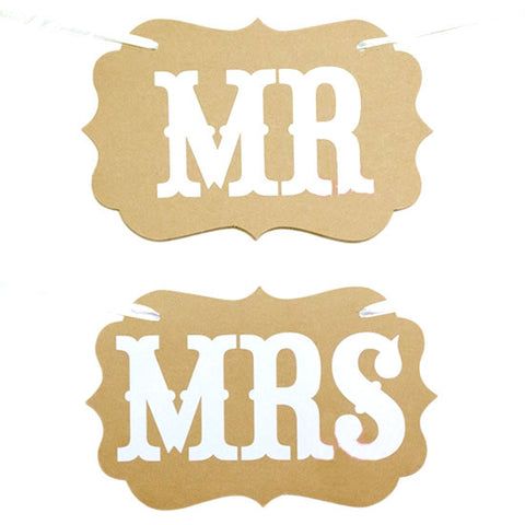 "Letreros ""Mr"" & ""Mrs"" kraft"
