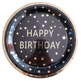 "Platos de papel ""Happy Birthday"" negro gold foil GRANDES (10 piezas)"