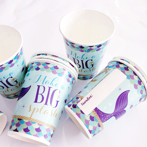 "Vasos de papel sirenita ""Make a big splash!"" (8 piezas)"