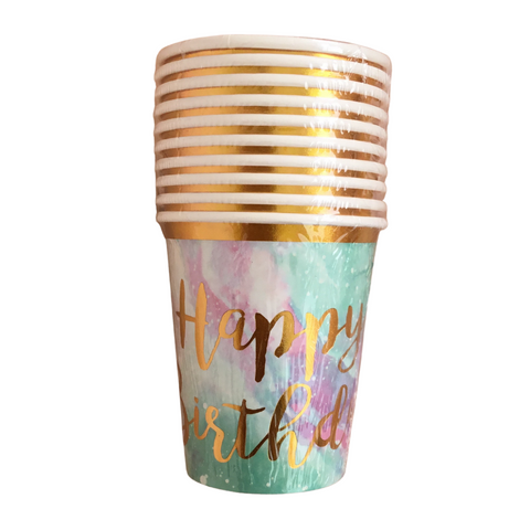 "Vasos de papel ""Happy Birthday"" universo ombre (10 piezas)"
