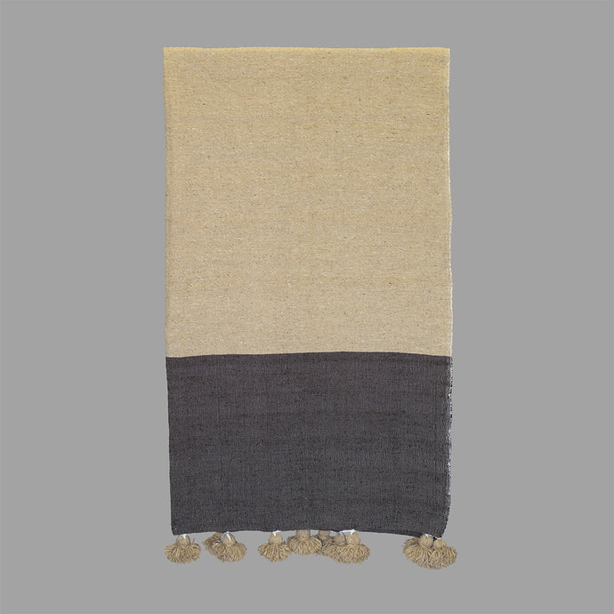 Moroccan Pom Pom Blanket - Beige and Brown