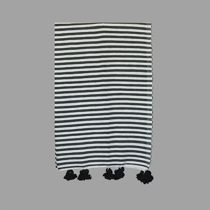 Moroccan Pom Pom Blanket - White with Black Stripes