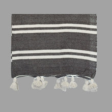 Moroccan Pom Pom Blanket - Brown with White Stripes
