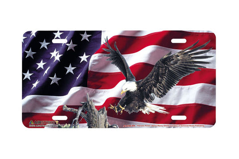 Airstrike® American Flag Eagle License Plate Patriotic Power-6512