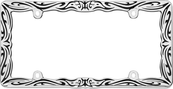 Tribal II Chrome License Plate Frame