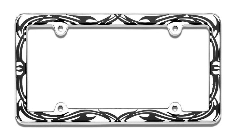 Tribal Chrome License Plate Frame