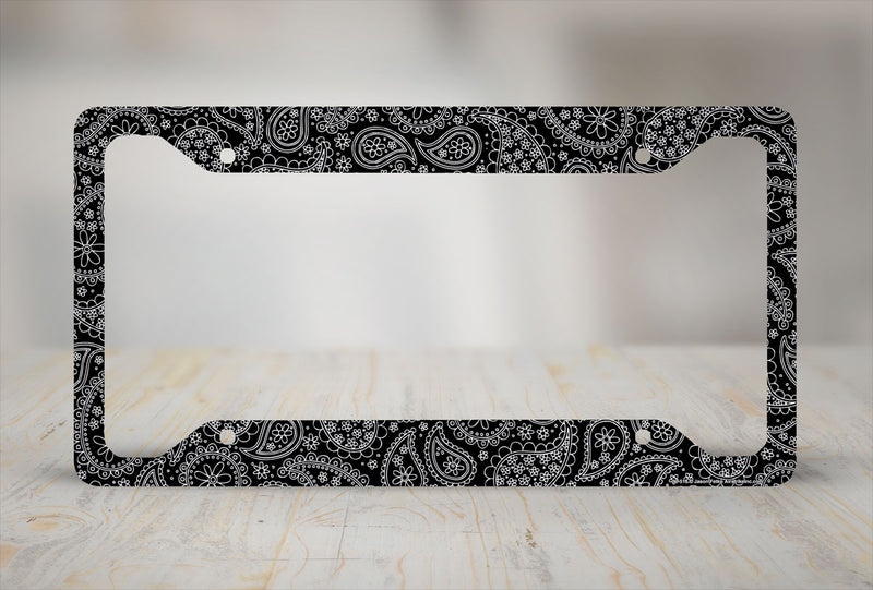 Airstrike® Paisley License Plate Frame, Black Paisley Car Tag Frame, Paisley License Plate Holder, Cute License Plate Frame-30-516