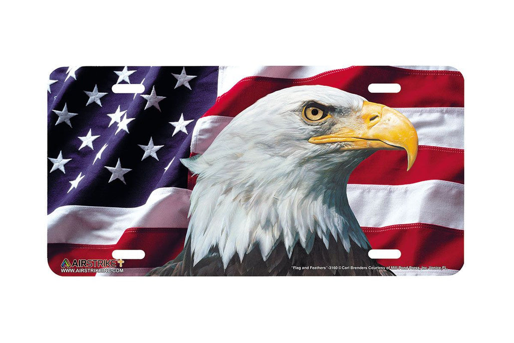 Airstrike® American Flag License Plate Eagle License Plate Flag and Feathers-3160