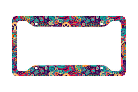 Airstrike Hippie Flower License Plate Frame, Floral Pattern Car Tag Frame, Retro License Plate Holder, Cute License Plate Frame-30-753