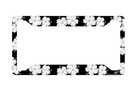 Airstrike® Tropical Flowers Hibiscus Black License Plate Frame, Flower License Plate Frame, License Plate Holder, Cute License Plate Frame-30-756