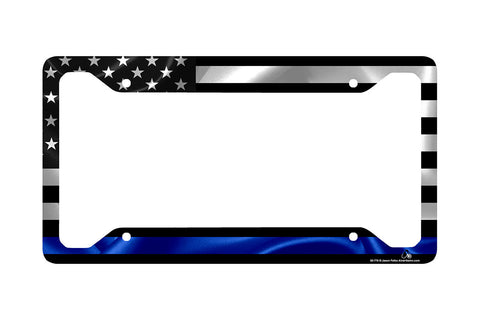 Airstrike® Thin Blue Line Police Law Enforcement Black American Flag License Plate Frame-30-776