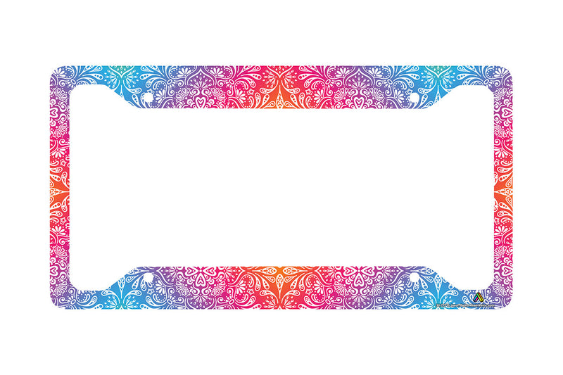 Airstrike Colorful Mandala License Plate Frame, Floral Pattern Car Tag Frame, Hippie License Plate Holder, Cute License Plate Frame-30-777