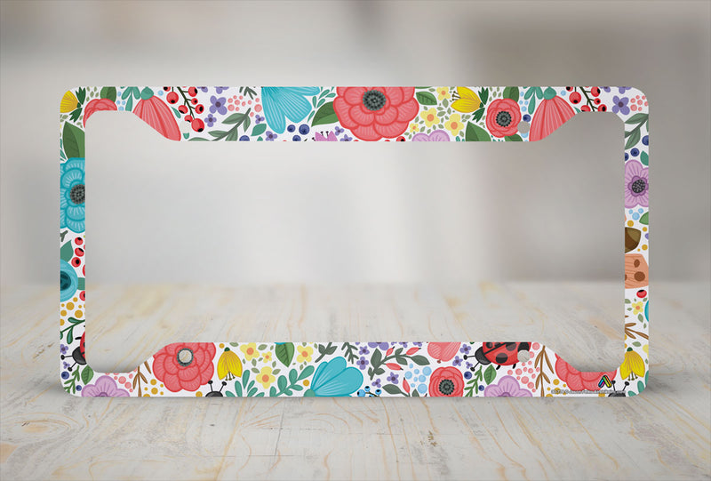 Airstrike Boho Flower License Plate Frame, Floral Pattern Car Tag Frame, Hippie License Plate Holder, Cute License Plate Frame-30-778