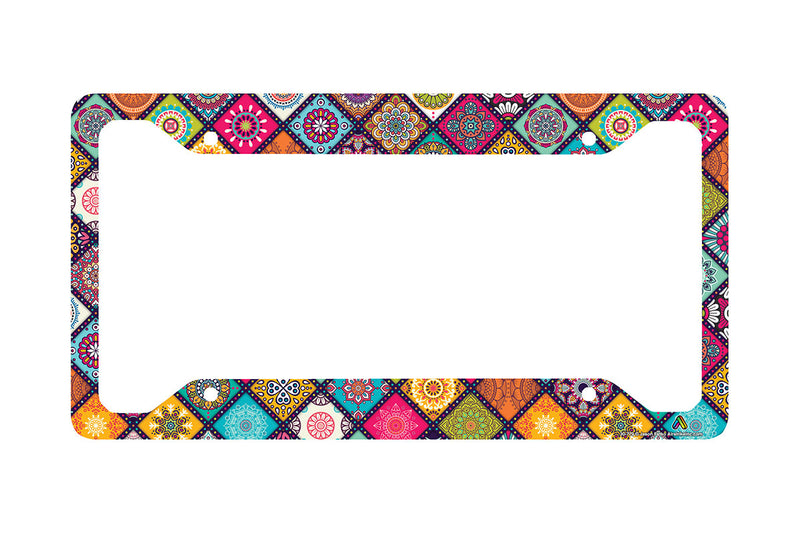 Airstrike Boho Chic Flower License Plate Frame, Bohemian Pattern Car Tag Frame, Hippie License Plate Holder, Cute License Plate Frame-30-779