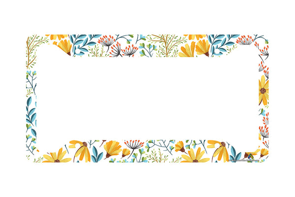 Airstrike Yellow Daisy Flower License Plate Frame, Boho Chic Pattern Car Tag Frame, Hippie License Plate Holder, Cute License Plate Frame-30-780
