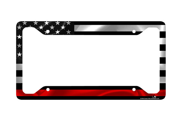 Airstrike® Thin Red Line Black American Flag License Plate Frame for Firefighters-30-782