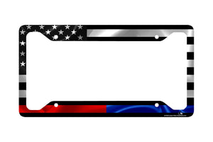 Airstrike® Thin Red and Blue Line License Plate Frame, Black American Flag with Red and Blue Stripe License Plate Frame Made in USA (Made of Metal)-30-783