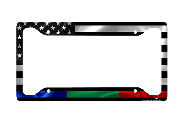 Airstrike® Police Military and Fire Thin Line USA License Plate Frame, Black American Flag with Thin Blue Green Red Line Made in USA (Made of Metal)-30-784