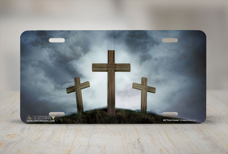 "Airstrike® Christian License Plate 468-""Three Crosses""-Cross License Plates"