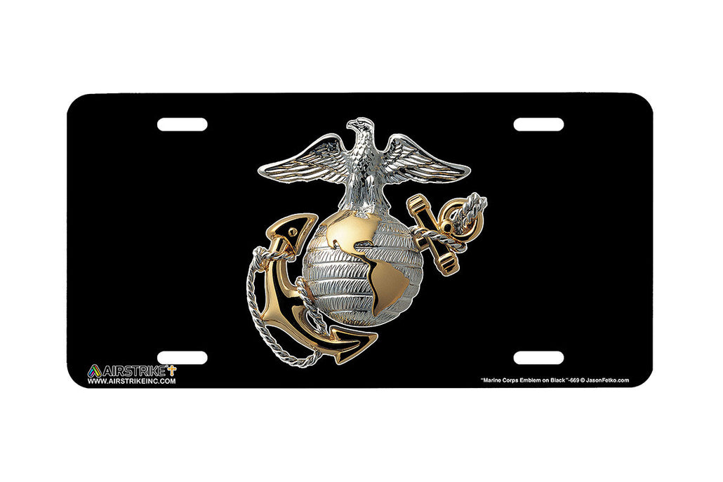 "Airstrike® 669-""Marine Corps Emblem on Black""-Marine License Plate"