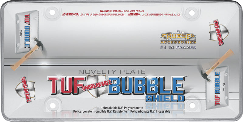 Unbreakable Bubble Shield Tuf Clear UV Polycarbonate Protective License Plate Cover