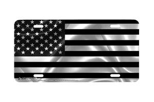 Airstrike® Black American Flag License Plate Patriotic Front License Plate Made in USA (Made of Metal)-766