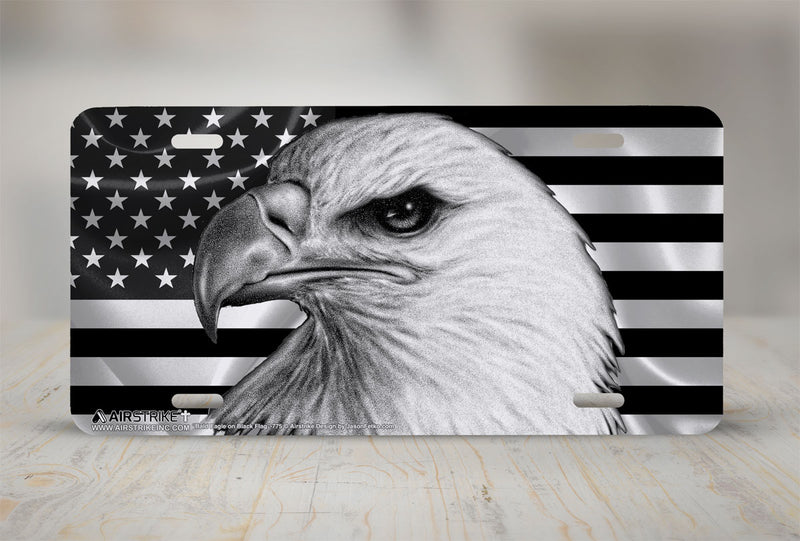 Airstrike® Black American Flag License Plate with Eagle Front License Plate Made in USA (Made of Metal)-775